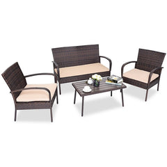 4 Pcs Rattan Outdoor Furniture Set
