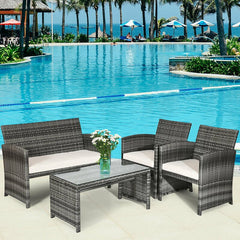 Outdoor Patio 4 Pcs Patio Rattan Furniture Set Top Sofa With Glass Table