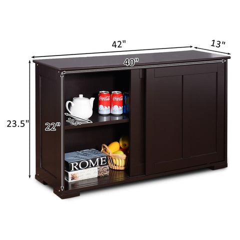 Kitchen Storage Cupboard Cabinet with Sliding Door MDF Black Brown Home Large Storage Space Storage Bins