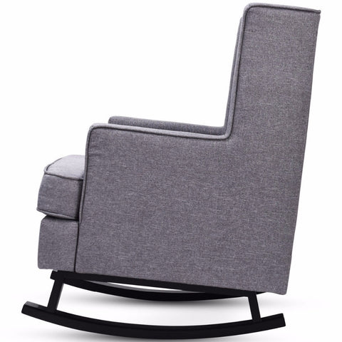 Mid-Century Retro Fabric Upholstered Rocking Chair Button-Tufted  Gray Home Furniture