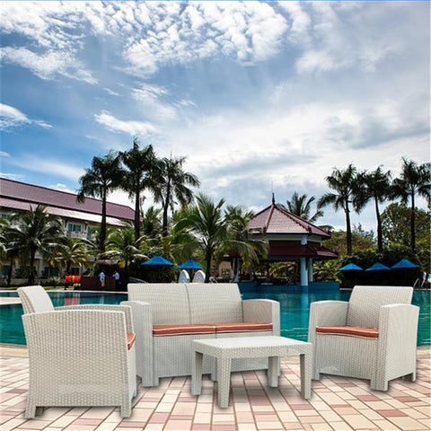 2 Pcs Weather Outdoor Patio Garden Furniture Sofa Set Gray White