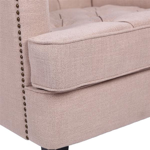 Comfortable Classical Fabric Single Sofa with Button - Beige