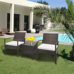 3pcs Rattan Sofa Set Brown Gradient Outdoor Garden Patio Furniture