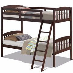 Image of Solid Hardwood Twin Bunk Beds Convertible With Kids Ladder Safety Rail