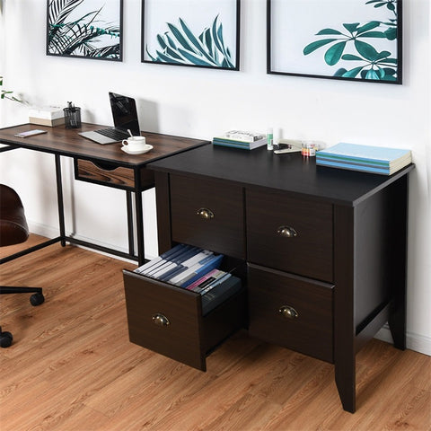 Multi-function Retro Lateral File Storage Cabinet with 2 Drawers High-quality MDF Versatile Functional Waterproof