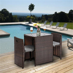 3 PCS Rattan Wicker Bistro Set with Glass Top Table