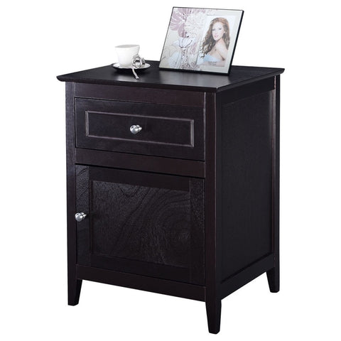 Modern Beech Wood Cabinet Storage Bedside Nightstands Accent End Table Bedroom Furniture
