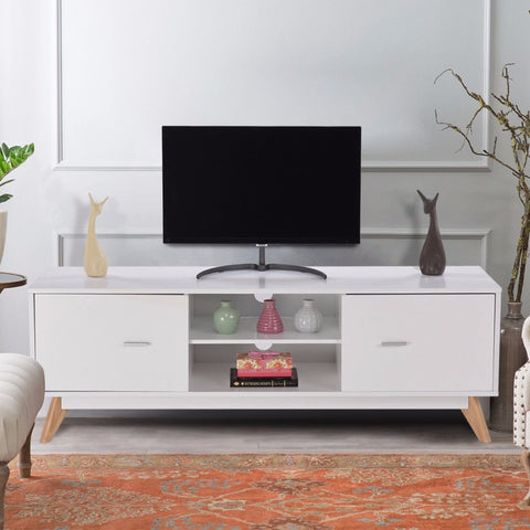 Modern TV Stand Entertainment Center 2 Doors Shelves Wood Console Cabinet - White