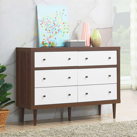 6 Drawer Dresser Wood Chest Storage Freestanding Cabinet Organizer