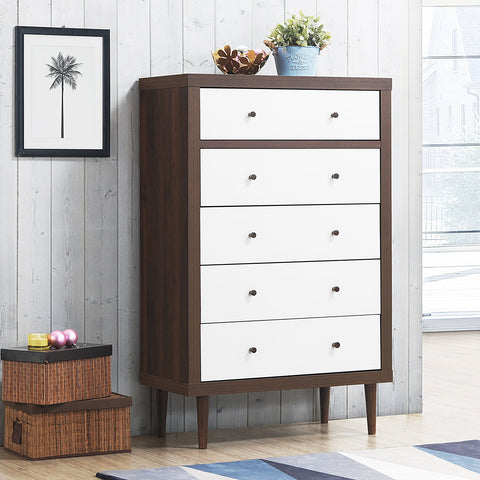 5 Drawer Dresser Wood Chest Storage Freestanding Cabinet Organizer