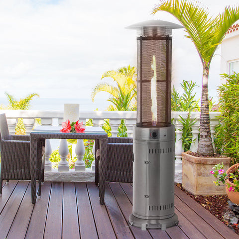 34000 BTU Patio Heaters Stainless Steel Round Propane Glass Tube Flame W/Wheels