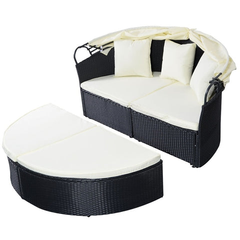 Elegant Outdoor Patio Rattan Round Retractable Canopy Daybed