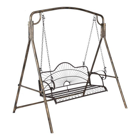 Artisasset Paint Sun Shape Outdoor Garden Double Iron Art Swing Chair Brown