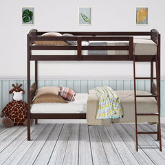 Solid Hardwood Twin Bunk Beds Convertible With Kids Ladder Safety Rail