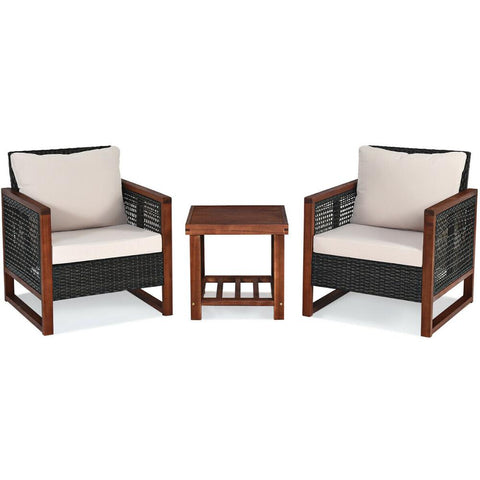 3 PCS Patio Wicker Furniture Set Solid Wood Frame Cushion Sofa Square Table Shelf