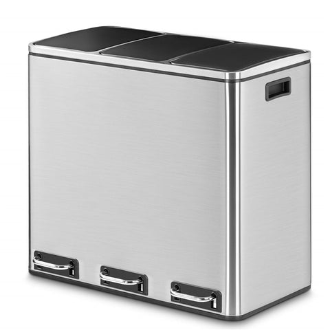 14 Gallon Stainless Steel Pedal Garbage Can 3 x 18L
