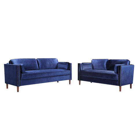 2 Pcs/set Sectional Sofa Wooden Frame 2P 3P Spring Couch Classic Living Room Furniture