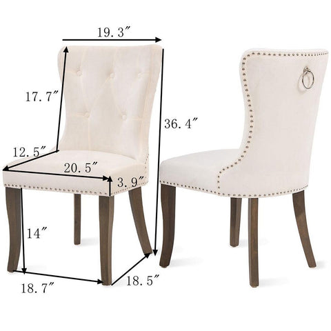 2pcs/Set Dining Chair Tufted Armless Upholstered Nailhead Trim Classic Accent Chairs
