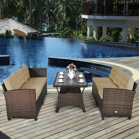 3 Pcs Rattan Dining Set Patio Furniture Sofa with Cushions