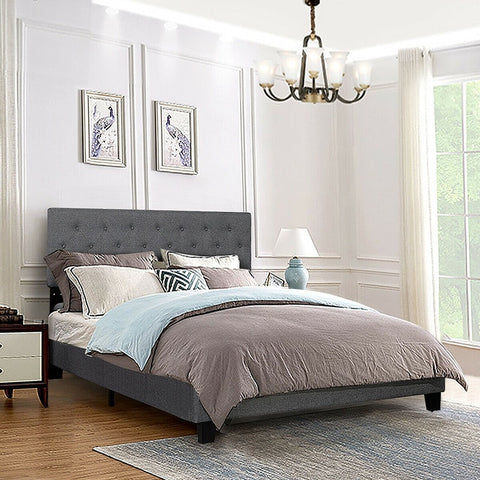 Queen Size Upholstered Tufted Panel Bed