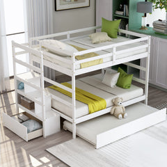 White Solid Wooden Full Loft Bunk Trundle Bed Frame