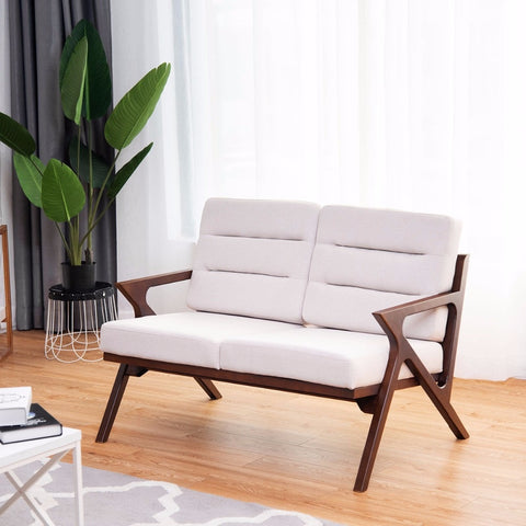 Loveseat Armchair Sofa Fabric Upholstered Wooden Lounge Chair Two-Seater Beige