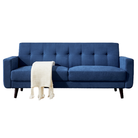 "Mid-Century Modern Blue Sofa Polyester Fabric 79""w Hardwood Frame With Solid Wood Legs"