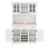 Image of White Buffet And Hutch Wood Top Kitchen Storage Cabinet