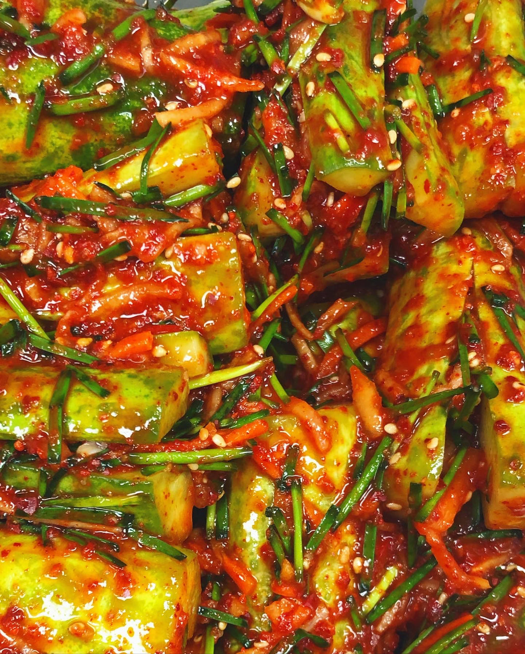 Crunchy, refreshing and spicy stuffed cucumber kimchi (oi sobagi in Korean). Perfect for summer BBQ's and insanely addicting!