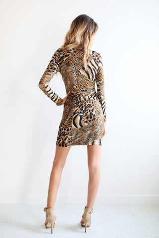Leopard Print Long Sleeved Wrap Dresses
