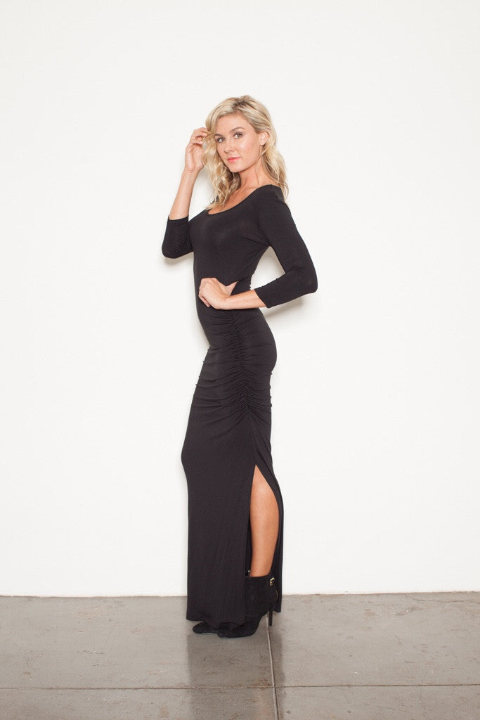 FOREVER MAXI T 3/4 sleeve BLACK