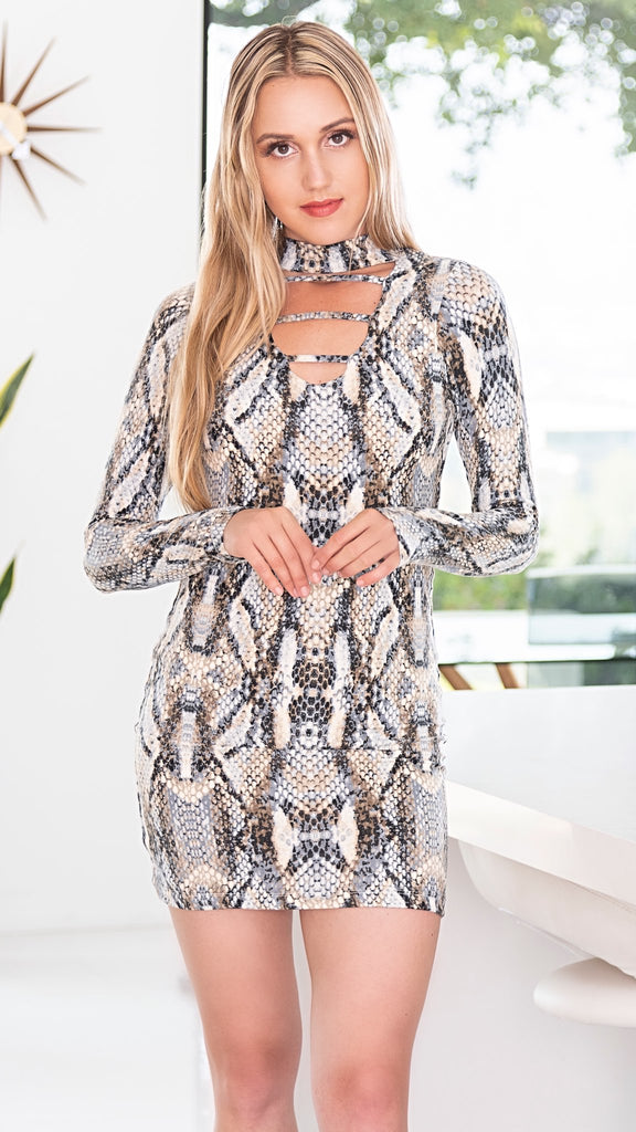 FOREVER CAGE MINI LONG SLEEVE DRESS - PYTHON