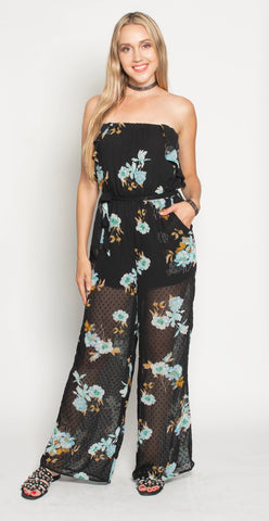 GODDESS TOP- BLACK FLORAL CHIFFON