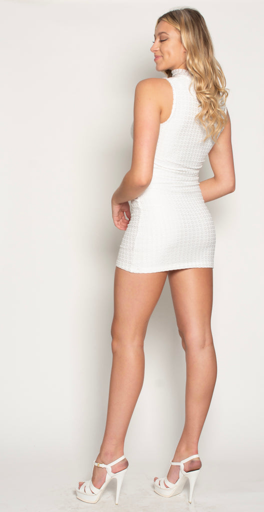 FOREVER CAGE MINI DRESS - WHITE CROCHET