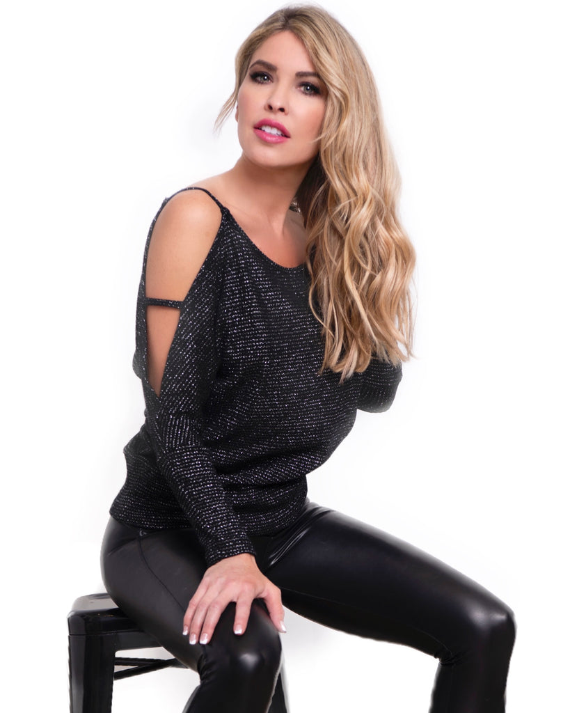GODDESS SWEATER TOP- BLACK/SILVER KNIT