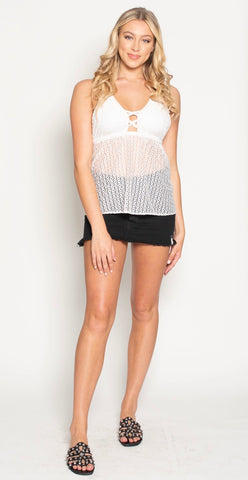 FOREVER FLIGHT TIME MINI DRESS- BLACK CROCHET