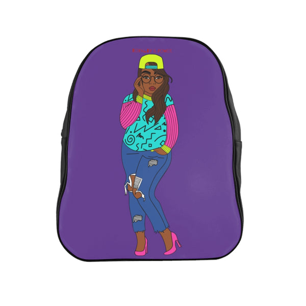 80's Girl Purple School Backpack