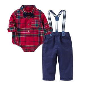 Baby Boy Checkered Bow Tie Set