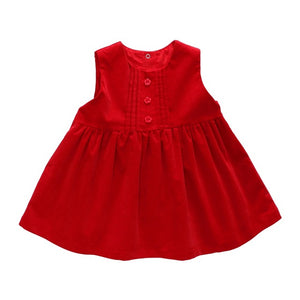 2-1 Baby Girl Dress Baby Girl Clothes Children's Dress Baby Princess Dress Red Corduroy Birthday Dress for Girls