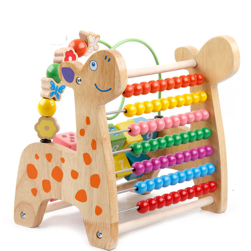Baby wood toy multi - color deer shape calculation framework early mathematics education Puzzle toys Hand-made