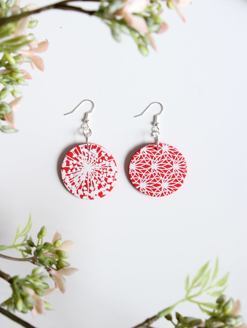 Spiral Red Polymer Clay Earrings