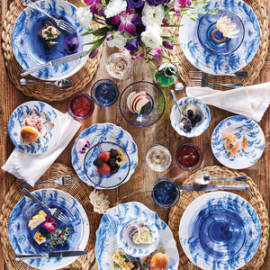 Country Estate Delft Blue Party Plates Set/4 Spring Gardening Scenes - By Juliska