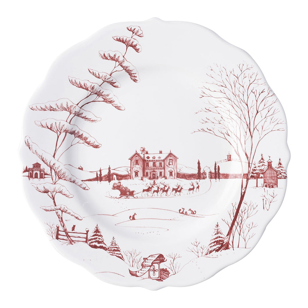 Country Estate Winter Frolic Ruby Dinner Plate Christmas Eve - By Juliska