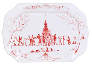 Country Estate Winter Frolic Ruby Gift Tray Merry Christmas - By Juliska