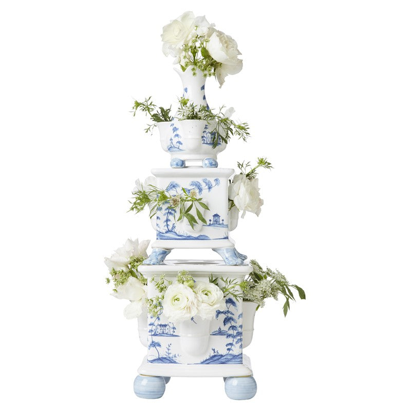 Country Estate Delft Blue Tulipiere Tower Set/3 Garden Follies - By Juliska