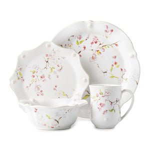 Berry & Thread Floral Sketch Cherry Blossom 4pc Place Setting (FB01B/88, FB02B/88, FB07B/88, FB06B/88) - By Juliska