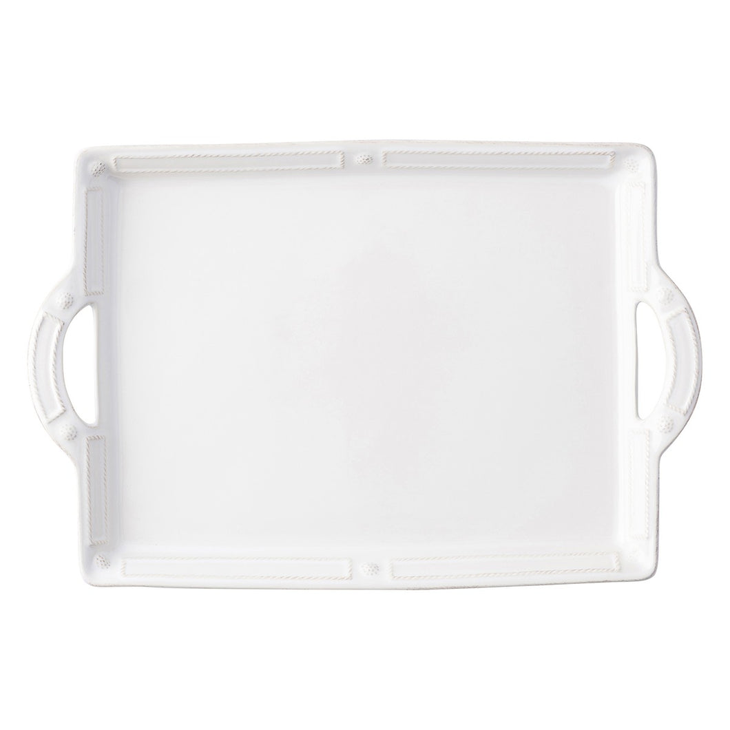 Berry & Thread French Panel Whitewash Handled Tray/Platter - By Juliska