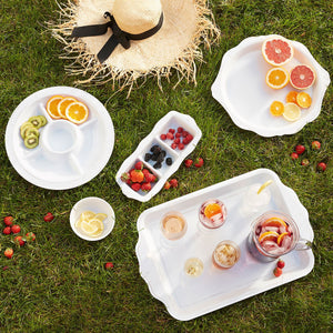 "B&T Melamine Whitewash 15"" Sectioned Server - By Juliska"