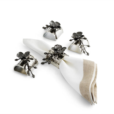 Black Orchid Napkin Ring S/4 - By Michael Aram