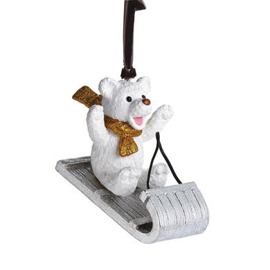 Sledding Teddy Ornament - By Michael Aram